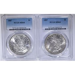 2 1887 MORGAN DOLLARS PCGS MS64