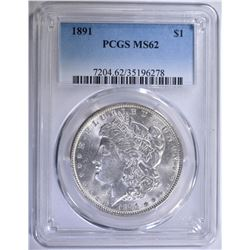 1891 MORGAN SILVER DOLLAR PCGS MS-62 WHITE