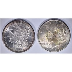 SILVER DOLLARS CH BU: 1923-S PEACE & 1897-S MORGAN
