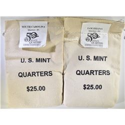 2 - MINT SEALED STATE QTR BAGS: