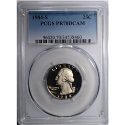 1984-S WASHINGTON QUARTER PCGS PR-70 DCAM