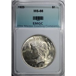 1923 PEACE DOLLAR EMGC SUPERB