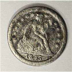 1845-O SEATED DIME, VF porosity KEY DATE