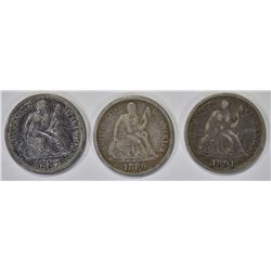 1889 VF, 91-O VF/XF & 87-S XF SEATED DIMES