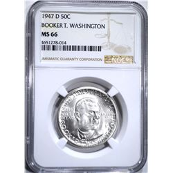 1947-D B.T. WASHINGTON HALF DOLLAR, NGC MS-66!