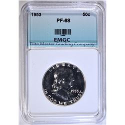 1953 FRANKLIN HALF DOLLAR, EMGC SUPERB GEM PROOF+