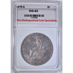 1878-S TRADE DOLLAR, TDCS CH BU