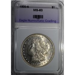 1900-S MORGAN DOLLAR ENG CHOICE BU
