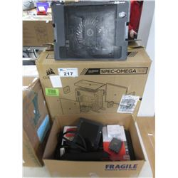 CORSAIR CARBIDE SPEC-OMEGA RGB CASE & BOX OF ELECTRONIC EQUIPMENT