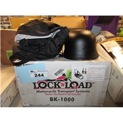 LOCK N LOAD BK1000 MOTORCYCLE WHEEL CHOCK COMBO KIT, HELMET & BIKE COVER