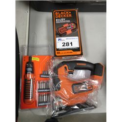BLACK & DECKER 6/12V BATTERY CHARGER, SCREWDRIVER KIT & JIG SAW (NO BATTERY)