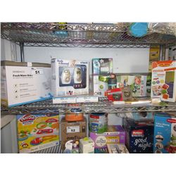 SHELF LOT OF ASSORTED BABY PRODUCT & TOYS