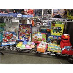 SHELF OT OF ASSORTED TOYS & HOUSEHOLD ITEMS