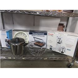 SHELF LOT OF ASSORTED KITCHENWARE