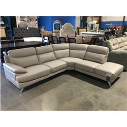 GREY LEATHER UPHOLSTERED 3 PCE SECTIONAL SOFA SET