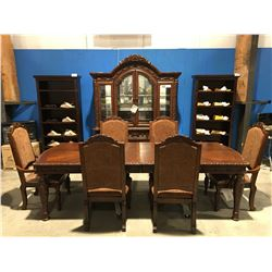 11 PC MAHOGANY FINISH DINING ROOM SUIT - TABLE/ 2 LEAFS/6 CHAIRS/BUFFET & HUTCH
