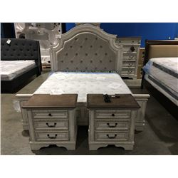KING SIZE WHITE RUSTIC FINISH 6 PC BEDROOM SUITE, HEAD BOARD, FOOT BOARD RAILS, 7 DRAWER DRESSER