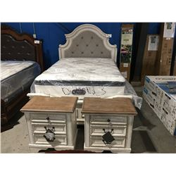 QUEEN SIZE WHITE RUSTIC FINISH 3 PC BEDROOM SUITE, HEAD BOARD, FOOT BOARD, RAILS & 2 - 3 DRAWER