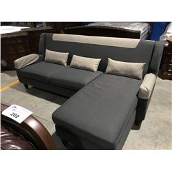 CONTEMPORARY GREY UPHOLSTERED 2 PC SOFA LOUNGER WITH 3 THROW CUSHIONS