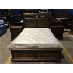 QUEEN SIZE OAK FINISH 3 PC BEDROOM SUITE - PLATFORM BED WITH 2 DRAWER FOOTBOARD STORAGE  & 2 - 2