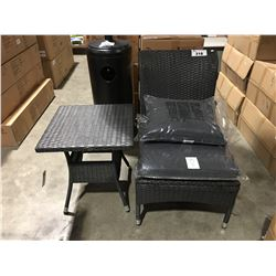 PATIO FLARE 2 PC OUTDOOR PATIO CHAIR & SMALL SIDE TABLE