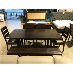 CONTEMPORARY RUSTIC LOOK WOOD & METAL DINING TABLE WITH 4 CHAIRS & LONG BENCH SEAT
