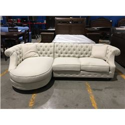 2 PC CREAM UPHOLSTERED SOFA LOUNGER WITH 2 THROW CUSHIONS