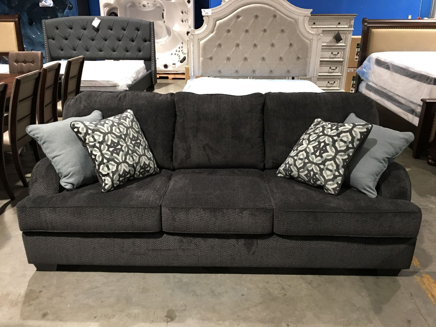 Enjoyable Charcoal Grey Upholstered 3 Seater Sofa With 4 Throw Cushions Download Free Architecture Designs Rallybritishbridgeorg
