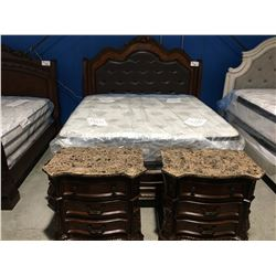 KING SIZE MAHOGANY FINISH BROWN LEATHER PADDED 3 PC BEDROOM SUITE (HEADBOARD, FOOTBOARD & RAILS)