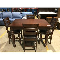CONTEMPORARY COUNTER HEIGHT DINING TABLE WITH 4 CHAIRS