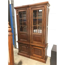 2 PC MAHOGANY FINISH GLASS FRONT DISPLAY/BOOK CABINET SET