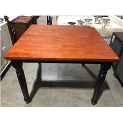 CONTEMPORARY TWO TONE BLACK & CHERRY FINISH COUNTER HEIGHT TABLE WITH JACK KNIFE LEAF