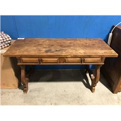 ANTIQUE 2 DRAWER WRITING DESK (RESTORATION WORK NEEDED)