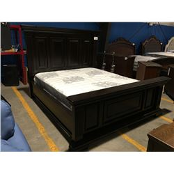 CALIFORNIA KING SIZE DARK WOOD PANEL BED (HEADBOARD, FOOTBOARD & RAILS)