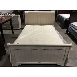 DOUBLE SIZE CREAM SLEIGH BED (HEADBOARD, FOOTBOARD & RAILS)