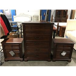 3 PC MAHOGANY BEDROOM DRESSER SET (5 DRAWER DRESSER & 2 - 2 DRAWER NIGHT STANDS)