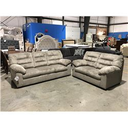 2 PC DUSTY OLIVE CORDUROY UPHOLSTERED SOFA & LOVE SEAT SET