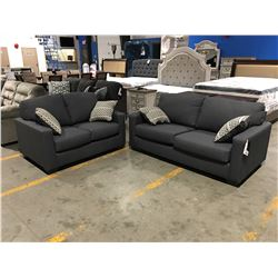 2 PC GREY UPHOLSTERED APARTMENT SIZE SOFA & LOVESEAT SET WITH 4 THROW CUSHIONS
