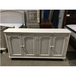 CONTEMPORARY WHITE RUSTIC FINISH DOOR ACCENT CABINET