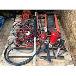 PALLET OF ASSORTED JACKS, JACK STANDS & CABLES