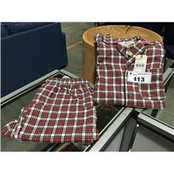 PAIR LEE VALLEY IRELAND 2 PC FLANNEL PAJAMA SET - RED/WHITE CHECKER SIZE L