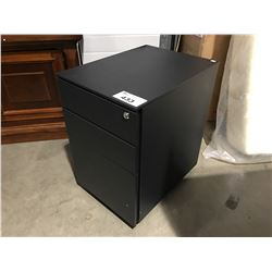 BLACK METAL SMALL 3 DRAWER ROLLING FILING CABINET