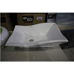 "VALLEY ACRYLIC ABOVE COUNTER PORCELAIN BASIN 20 X 14 X 6"" - WHITE (IN BOX)"