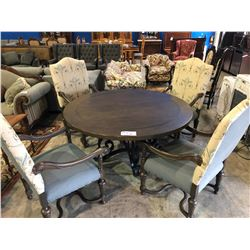 CUSTOM DARK WOOD ROUND & WROUGHT IRON DINING TABLE WITH 4 ITALIAN FABRIC CHAIRS