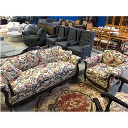 ANTIQUE SOLID WALNUT DOWN FILLED FLORAL PRINT COUCH SETTEE WITH MATCHING CHAIR