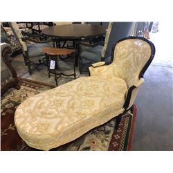 ANTIQUE MAHOGANY CLOTH FAINTING/CHAISE LOUNGER