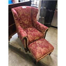 ANTIQUE ROSE WALNUT WINGBACK CHAIR WITH OTTOMAN