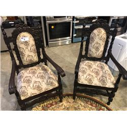 PAIR OF FORMAL HIGH BACK SOLID WALNUT ARMCHAIRS