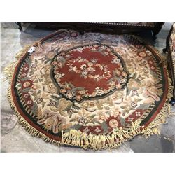 ROUND FLORAL PRINT SOLID WOOL AREA RUG - 5 FT