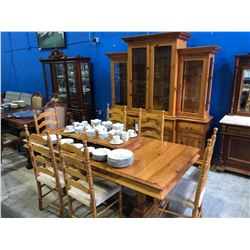 CUSTOM 9 PIECE SOLID PINE WOOD DINING SUITE WITH LARGE ILLUMINATED GLASS FRONT